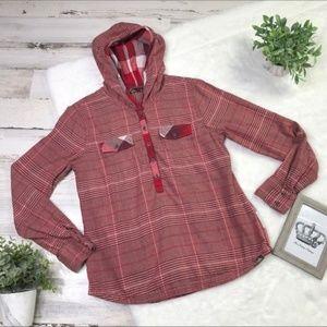 PrAna button down pullover hoodie flannel shirt